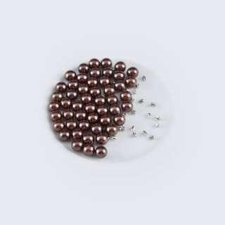 Жемчуг с заклепкой 8мм (50шт/уп) коричневый темный