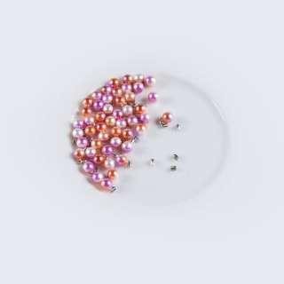 Жемчуг с заклепкой 6мм (50шт/уп) оранжево-бело-розовый