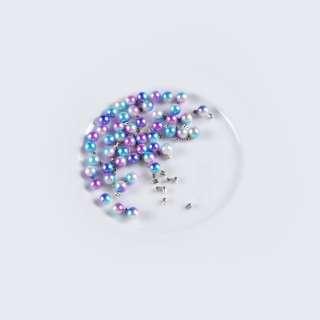 Жемчуг с заклепкой 6мм (50шт/уп) фиолетово-голубой