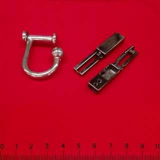 Пряжка металл 100х10мм никель черный крючек для сумки 20мм никель 40х35мм