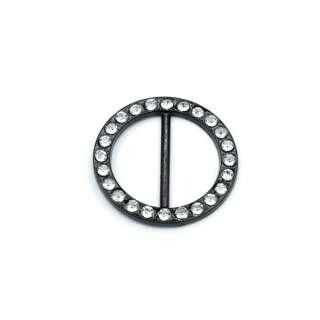 Пряжка неразъемная со стразами металл 25мм круглая 32х32мм черная