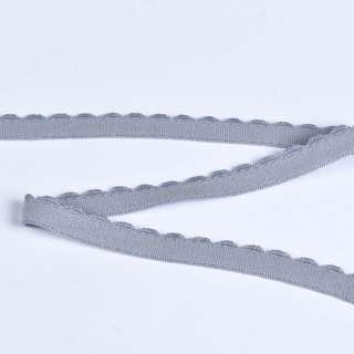 Резинка бельевая с ажурным краем серая