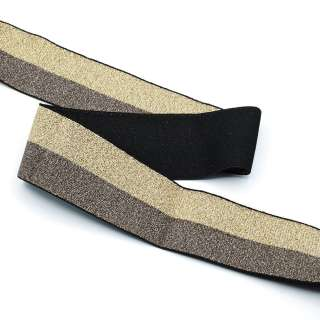 Резинка 40мм черная/золотистая с люрексом