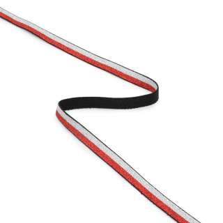 Резинка 10мм красная/серебристая с люрексом