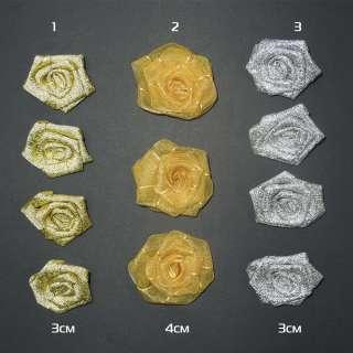 Пришивной декор розочка 30мм, 40мм 3 вида