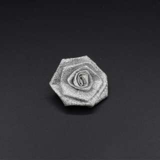 Пришивной декор розочка 50мм из парчевой ленты серебристый