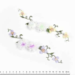 Пришивной декор цветы из ленты и вышивки 6х17см