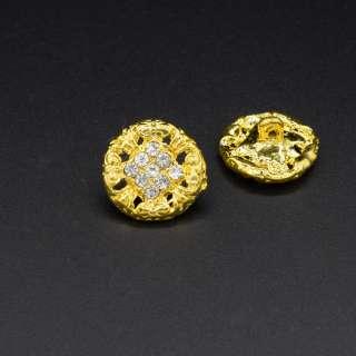 Пуговица металл со стразами белыми золотистая