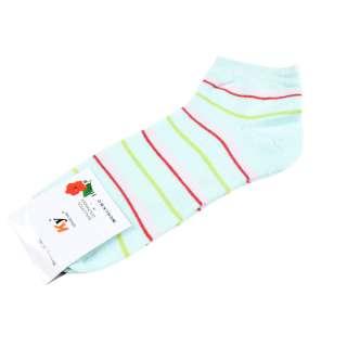 Носки мятные в розово-красно-салатовую полоску (1пара)