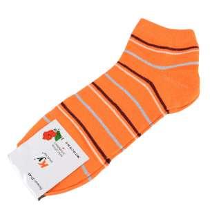 Носки оранжевые в коричнево-белую + серую полоску (1пара)