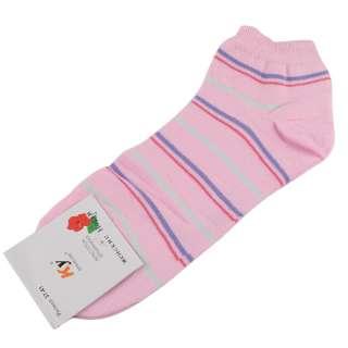 Носки розовые светлые в сиренево-красную полоску (1пара)