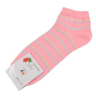 Носки розовые светлые в желто-голубую полоску (1пара)