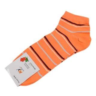 Носки оранжевые яркие в коричнево-желтую полоску (1пара)