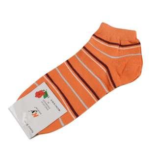 Носки оранжевые темные в коричнево-серую полоску (1пара)