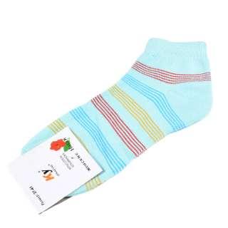 Носки голубые светлые в красно-желтую полоску (1пара)