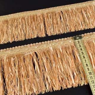Бахрома с атласной лентой бежево-персиковая (в.825г)