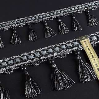 Бахрома кисточки с бусиной черно-серая (в.955г)