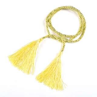 Шнур с кистями желтый с метанитью, 125 см, кисти по 10см