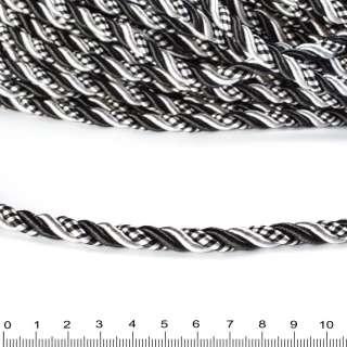 Шнур витой 9мм черно-белый