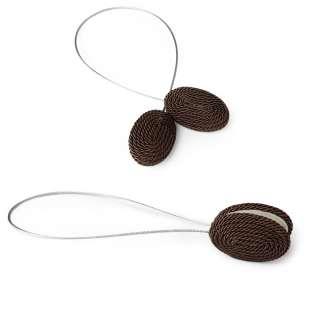 Подхват магнитный для штор овал со шнуром коричневый