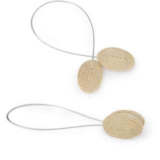 Подхват магнитный для штор овал со шнуром золотистый