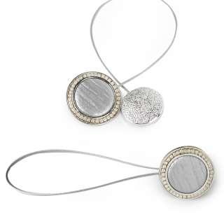 Подхват магнитный для штор круг под мрамор серебро