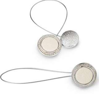 Подхват магнитный для штор круг белый серебро