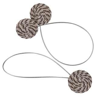 Подхват магнитный для штор круг со шнуром коричневый пестрый