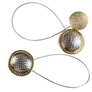 Подхват магнитный для штор круг плетенка серебро с золотом
