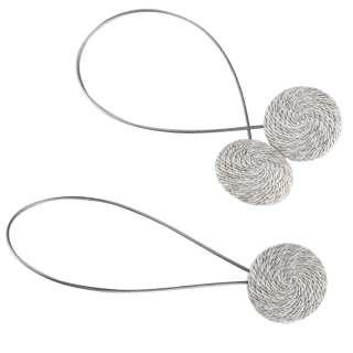 Подхват магнитный для штор круг со шнуром серо-молочный пестрый