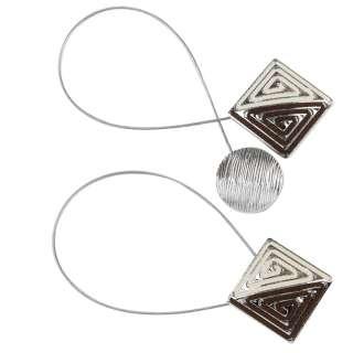Подхват магнитный для штор квадрат со шнуром черно-белый (серебро)